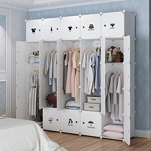 Wardrobe Bedroom Doors - KOUSI Portable Clothes Closet Wardrobe Bedroom Armoire Dresser Cube Storage Organizer, Capacious & Customizable, White, 10 Cubes & 5 Hanging Clothes
