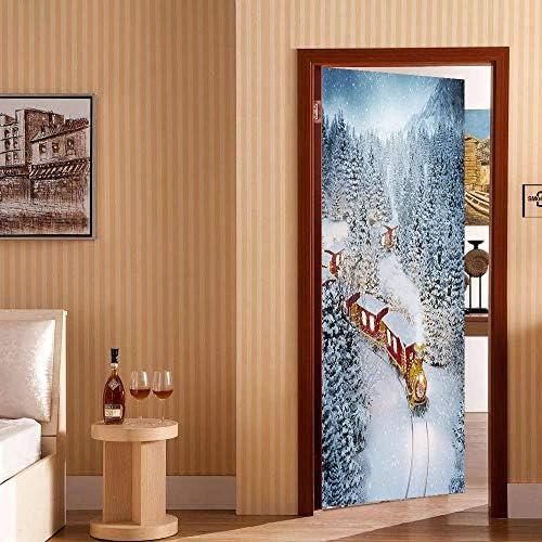 YWGMT 3D Puerta Pegatinas Posters Tren De Nieve Creativo 88X200Cm ...