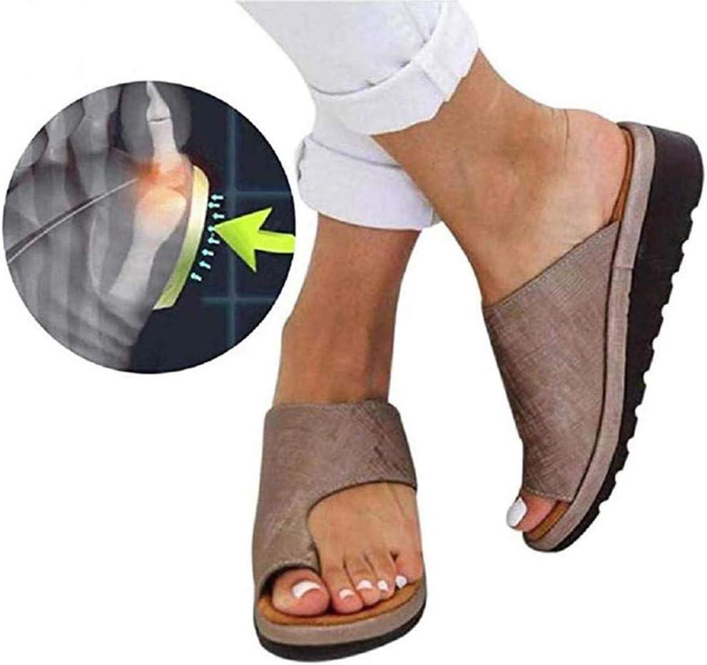 KRILY 2020 - Sandalias ortopédicas para mujer, con plataforma cómoda, de verano, con puntera plana, para juanetes, sandalias correctoras de playa para novias y madres, marrón, 40