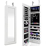 FDegage 6 LEDs Jewelry Cabinet Lockable Wall Door Mounted Jewelry Armoire Storage Organizer with Mirror 2 Drawers (White)