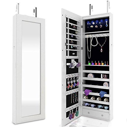FDegage 6 LEDs Jewelry Cabinet Lockable Wall Door Mounted Jewelry Armoire Storage Organizer with Mirror 2 Drawers (White) - 2 Door Painted Armoire