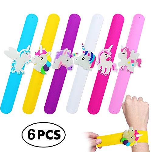 Twinkleming Unicorn Bracelet Birthday Party Favors for Kids, Colorful Assorted Reversible Silicone Wristbands, Christmas Rubber Toys Class Prizes for Children Girls Boys, 6 Pack Slap Bracelets