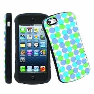 LJF phone case [ArmorXtreme] Apple ipod touch 4 Ultra Shock Absorbent Tough Designer Case [Dot Blue Green]