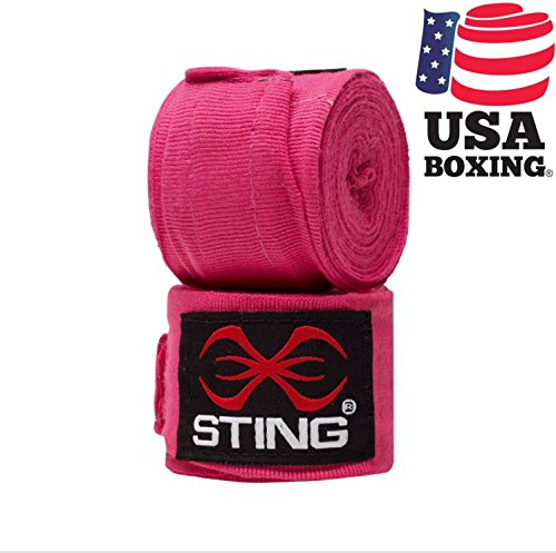 Sting - 4 M Semi Elasticised Hand Wraps, color rojo ,blanco ,negro ,rosa