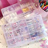 3 Pack 36 Grids Clear Plastic Organizer Box Storage Container Jewelry Box with Adjustable Dividers for Beads Crafts Jewelry Fishing Tackles with 5 Sheets Label Stickers