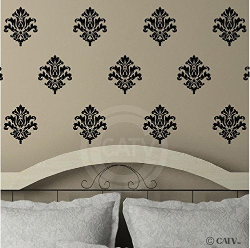 Damask set of 18 vinyl wall decal self adhesive wall pattern stickers (Black) (Black Wall Decals compare prices)