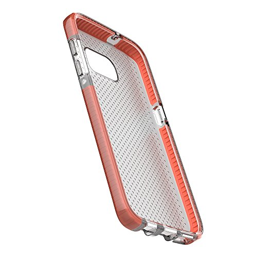 Grandcaser Funda para Samsung Galaxy S7 Edge,[Tough Armor] Slim Fit Flexible Goma Silicona TPU Gel Estuche Protectora de Claridad Diseño Lunares Textura Cover Duro Antideslizante Vistoso Parachoques - Transparente Negro