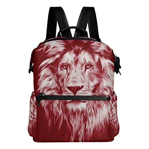 Polyester Vintage Backpack Leather Casual Bookbag Men Women Laptop Travel Rucksack Portrait Lion Oil Paints Pattern