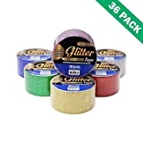 Gold Tape Glitter, Color Silver Glitter Adhesive Tape 1.88 In X 3 Yard-box Of 36