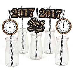 New Year's Eve - Gold - New Years Eve Party Straw Decor with Paper Straws - Set of 24
