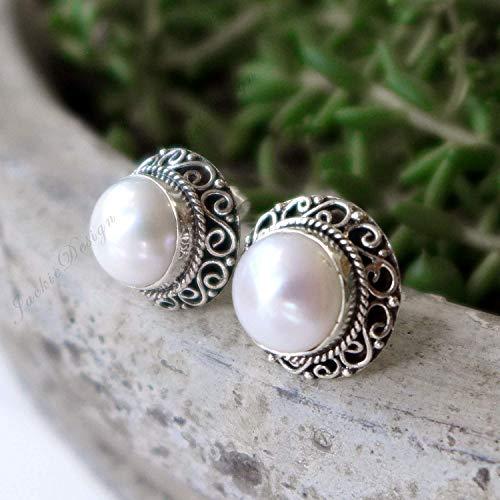 (14mm Bali Ornate Mabe Pearl Sterling Silver Post Earrings JD145)