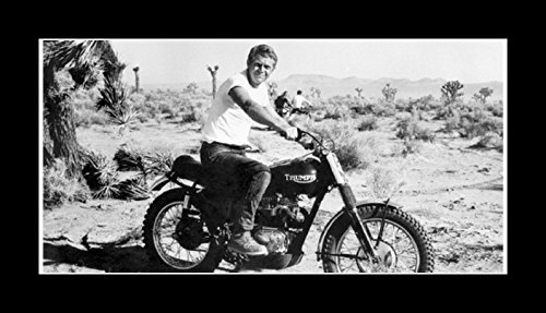 8 x 10 All Wood Framed Photo Steve-Mcqueen-Motorcycle ()