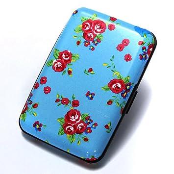 Porte Carte Cr/édit visite Portefeuille Aluminium Rigide s/écurit/é Bleu/&5 couleurs fleurs