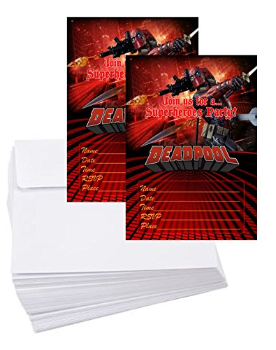 12 Deadpool Birthday Invitation Cards (12 White Envelops Included) -