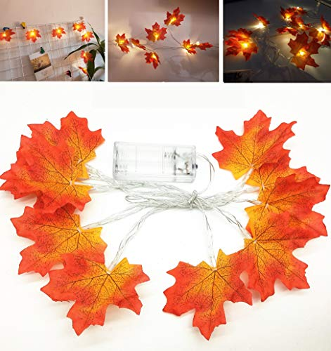6 PACK - 30 Led (Warm White) 9.8FT Maple Leaf String Lights Fall Garland Lights Battery Powered Light For Harvest Festival Thanksgiving Halloween Christmas For Indoor Outdoor, Bedroom, Patio, -