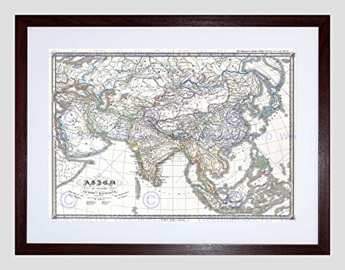 1855 PERTHES MAP ASIA AT END THE 17TH CENTURY VINTAGE FRAMED ART PRINT B12X2188