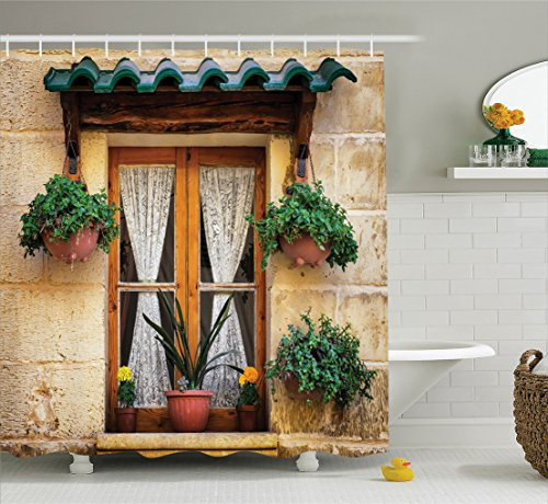 Shutters Decor Shower Curtain Set By Ambesonne, Basket Of Flowers At Historic Building Window With Classic Lace Curtain Inside Image, Bathroom Accessories, 69W X 70L Inches, Beige Green