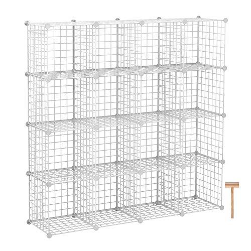 "C&AHOME Wire Cube Storage Organizer, Modular 16 Cube Shelving Unit, Metal Bookshelf, Storage Shelves for Closet, Living Room, Bedroom, Home Office, 48.4""L x 12.4""W x 48.4""H Black"