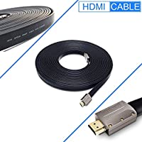 FLAT HDMI Cable - 50 FT, High Speed HDMI Cable (15M) Flat Wire - CL3 Rated Supports 4K, Ultra HD, 3D, 2160p, 1080p, Ethernet and Audio Return - Black
