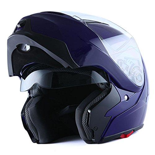 (1Storm Motorcycle Street Bike Modular/Flip up Dual Visor/Sun Shield Full Face Helmet (GlossyBlue, XX-Large))