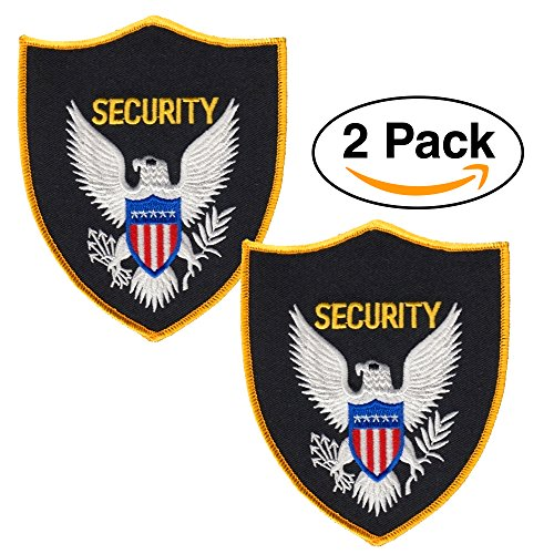 Gold Security Patch - 2 Pack - Security Guard, Officer Shoulder Patch, American Eagle, Embroidered