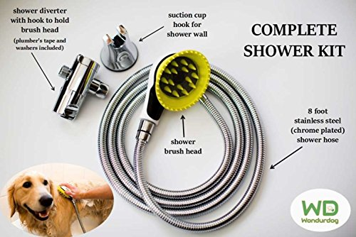 All-In-One Quality Dog Shower Kit   WATER SPRAYER BRUSH & RUBBER SHIELD   8 ft Flexible Metal Hose, Shower Diverter, Suction Cup Holder   Shield Water From Dogs Ears, Eyes and Yourself! (White)