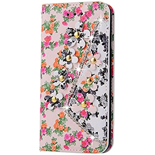 Samsung Galaxy S7 Edge Inch Photo Wallet Card Case,Auroralove Orange Colorful Flower PU Leather Case for Samsung S7 Edge with Bling Rhinestone Sales