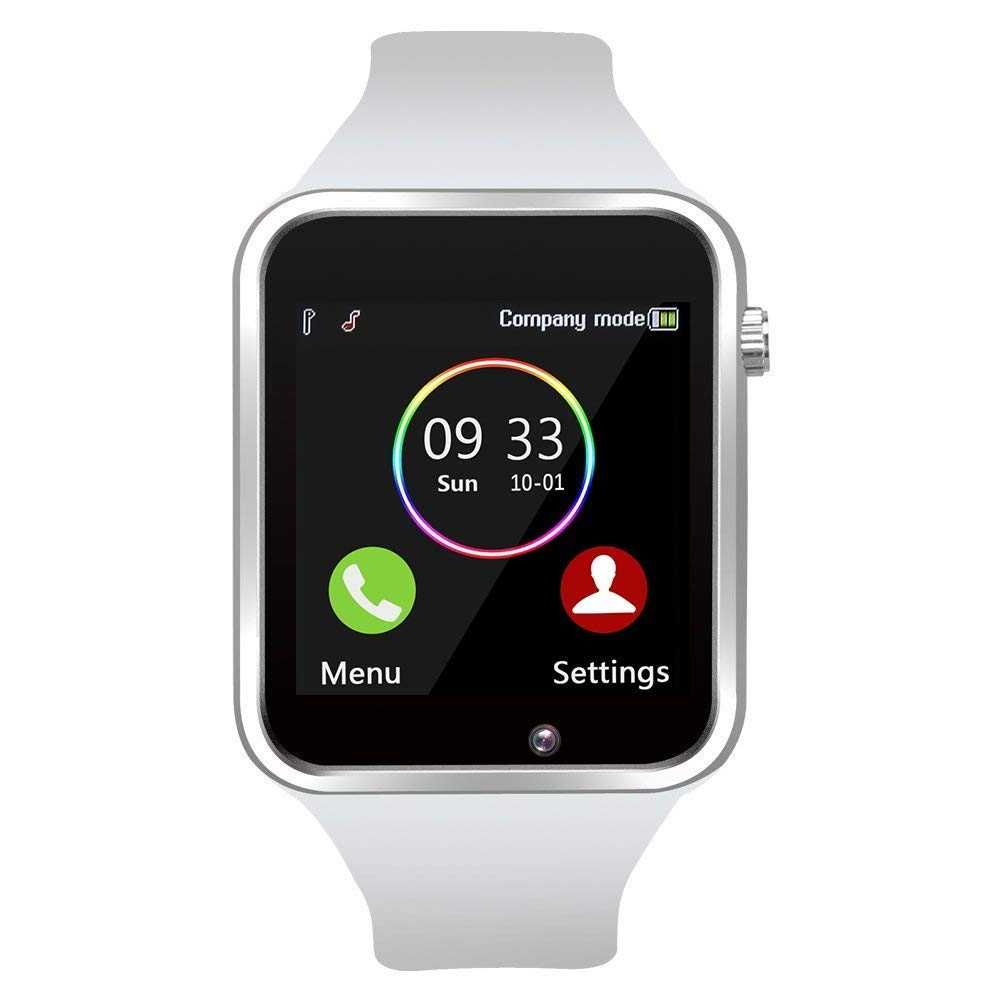 Smart Watch - Wzpiss Bluetooth Smartwatch Touchscreen Wrist Watch Sports Fitness Tracker with Camera Pedometer SIM/SD Card Slot Compatible Samsung Android iPhone iOS for Kids Women Men (White) by Wzpiss