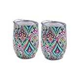Yaye Stainless Steel Stemless Wine Glasses Tumbler Unbreakable,2 Pack12oz Double-Insulated Wine Tumbler with Lid, Vacuum Travel Tumbler Cup for Champagne,Cocktails,Coffee,Drinks,Gift