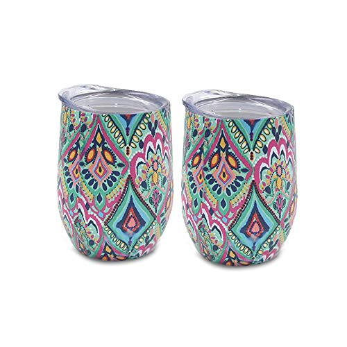 Yaye Stainless Steel Stemless Wine Glasses Tumbler Unbreakable,2 Pack12oz Double-Insulated Wine Tumbler with Lid, Vacuum Travel Tumbler Cup for Champagne,Cocktails,Coffee,Drinks,Gift (Best Mass Gainer 2019)