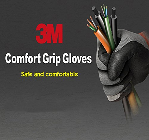 Grip Insulated Rubber Coated Gloves - 2 Pairs 3M Nitrile Foam Coated Comfort Gloves for Electrical and Maintenance work