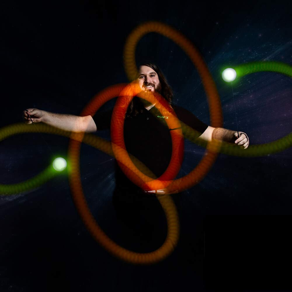 GloFX LED Poi Balls PROGRAMMABLE 9-Mode Poi Bright Flow Toy Light Painting Spin Glow Dancing Light Show Rave Prop