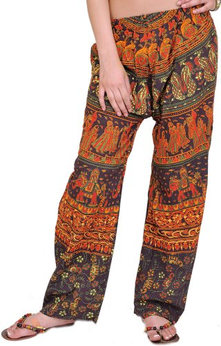 Exotic India Casual Trousers from Jodhpur with Printed Marriage Procession Coffee Bean