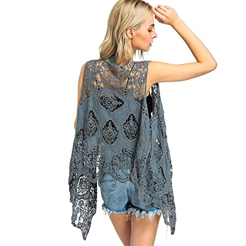 jastie Open Stitch Cardigan Boho Hippie Crochet Vest (Gray), One Size -