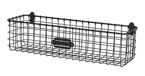Spectrum Vintage Wall Mount Storage Basket, Industrial Gray - Perfect storage solution for any room in the home Sturdy steel construction Overall dimensions measure 18.5L x 6D x 5.25 - living-room-decor, living-room, baskets-storage - 51Ld3eRgRML -