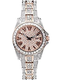 Luxury Watch, Crystal Watches for Women, 2 Tone Japanese Quarts Movement Water Resistant,