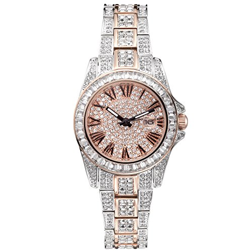 ♥ Gift for Her ♥ Crystal Watches for Women, Womens Watches Diamonds, Crystal Accented Two-Tone Crystal Dial Dress Watch with Date Rose Gold Bracelet Watch - Japanese Quarts Movement