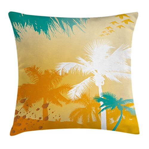 (Ambesonne Tree Throw Pillow Cushion Cover by, Colorful Palm Tree Design with Flying Birds Funky Tropical Summer Artwork, Decorative Square Accent Pillow Case, 16 X 16 Inches, Teal White and Marigold)