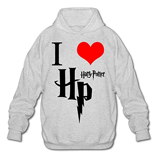 Custom I Love HP Heart Men's Hooded Sweatshirt XL Ash (Literary Characters For Halloween)