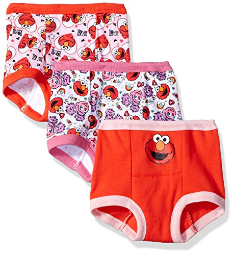 Sesame Street Toddler Girls' Elmo Girl 3 Pack Training Pant, Assorted Prints, 2T
