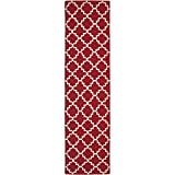 """Safavieh Dhurries Collection DHU566B Hand Woven Red and Ivory Wool Runner, 2 feet 6 inches by 12 feet (2'6"""" x 12')"""