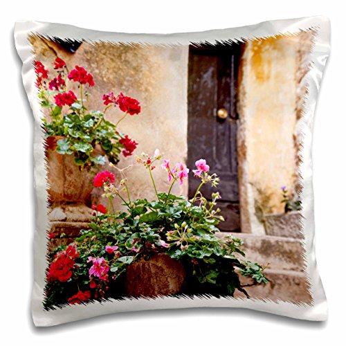 - 3D Rose Potted Flowers in Ancient Eze-Provence-France-Eu09 Bjn0333-Brian Janssen Design Pillowcase 16