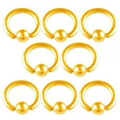 """16g 16 gauge (1.2mm), 1/4"""" Inches (6mm) long - Color Anodized surgical steel eyebrow lip bars ear tragus rings earrings ball closure ring bcr captive bead bar with 3mm balls AFKT - Pierced Body Piercing Jewelry- Set of 8"""