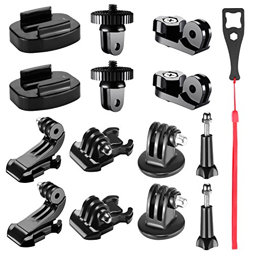Neewer 15-in-1 Action Camera Accessory Kit Compatible with GoPro Hero 7 6 5 4 3+ 3 2,SJ7000/6000,APEMAN Sony Sports DV: Tripod Mount Adapter, Buckle Clip Base Mount, J-Hook Buckle,Thumb Screw and More