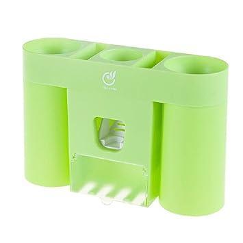 Kitrack Dispensador De Pasta De Dientes Automático y Portacepillos De Dientes,Green