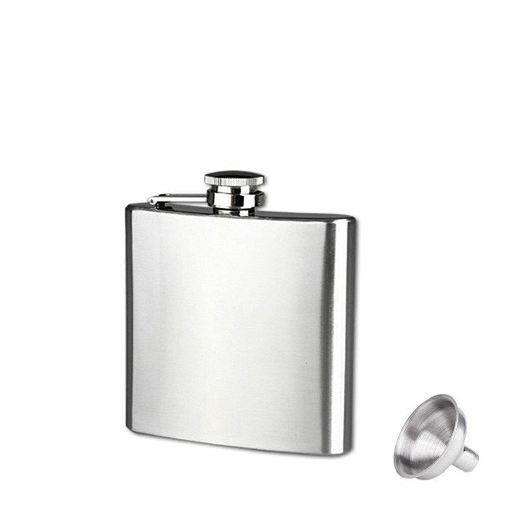 Hip Flask, XILALU 6 Sizes Stainless Steel Pocket Hip Flask Alcohol Whiskey Liquor Screw Cap + Funnel 4/5/6/7/8/10oz (6oz)