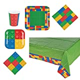 Candlewood Imports Building Blocks Birthday Party Supplies Kit - Plates, Napkins, Cups, Table Cover - Tableware for 16 Guests