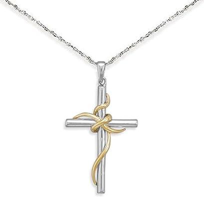 14K Two-Tone Gold Charm Pendant 25 mm 16 Yellow Rhodium Plated Diamond-Cut Cross With Heart