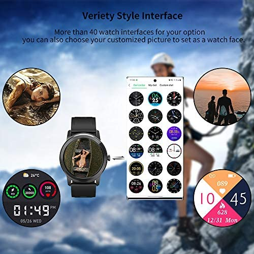 WAFA Smart Watch Fitness Tracker with Heart Rate Blood Pressure SpO2 Monitor IP68 Waterproof Sport Watch Calories Sleep Tracker Pedometer for Men Women Smartwatch Compatible with iPhone Android Phones 4