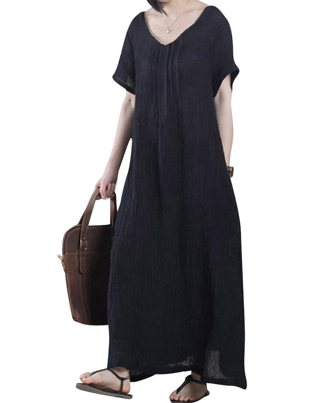 Kurzarm Kleid Preiswerte Maxi Damen Fest Beiläufige Leinenkleid Lose 35R4AqjL